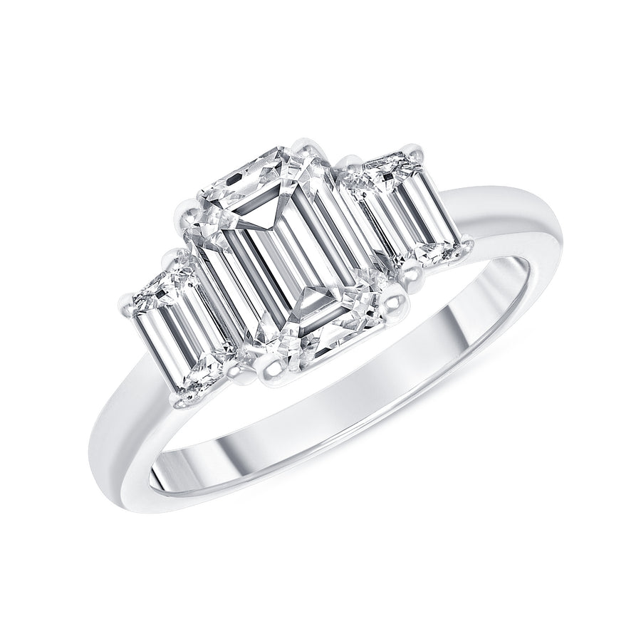 D&P Designs Three Stone Solid Band Engagement Ring White Gold