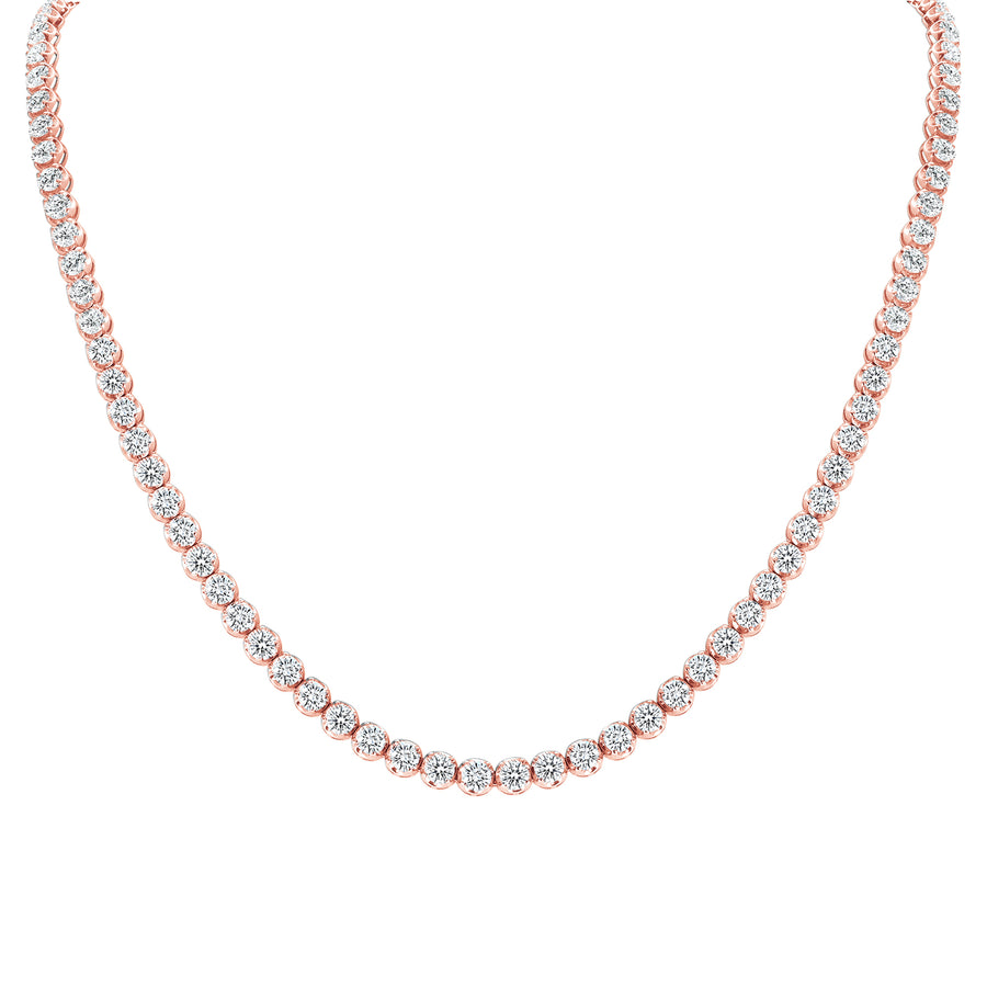 D&P Designs Traditional Straight Line Crown Tennis Necklace Rose Gold