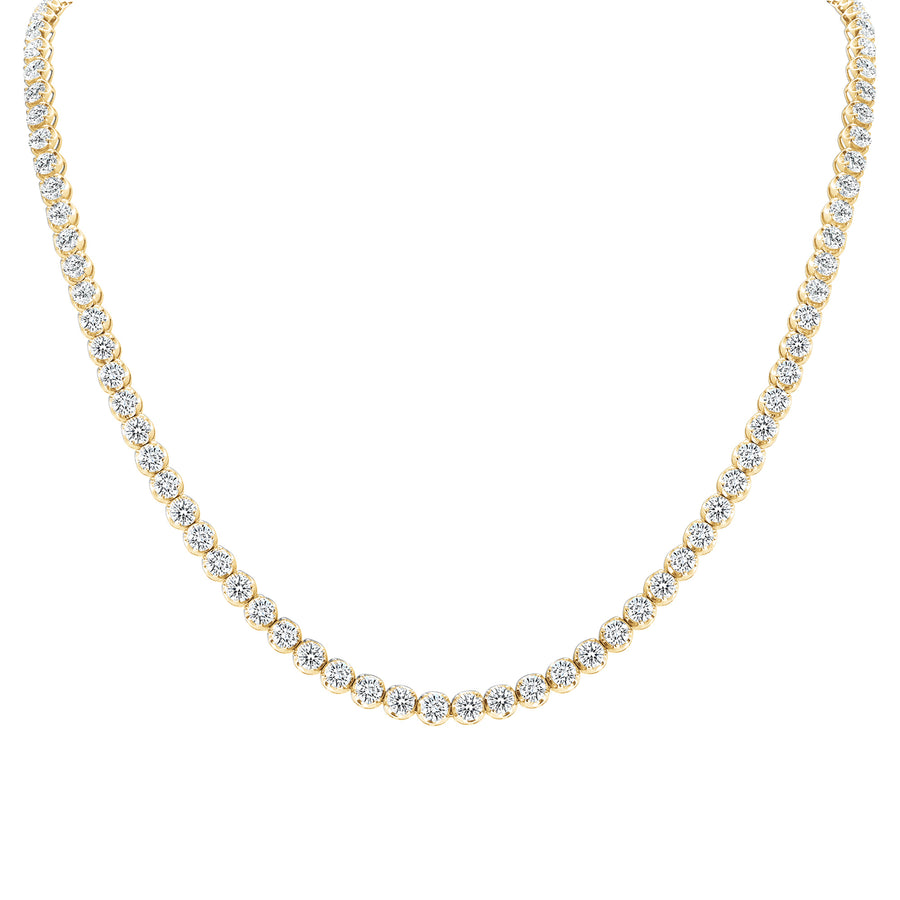D&P Designs Traditional Straight Line Crown Tennis Necklace Yellow Gold
