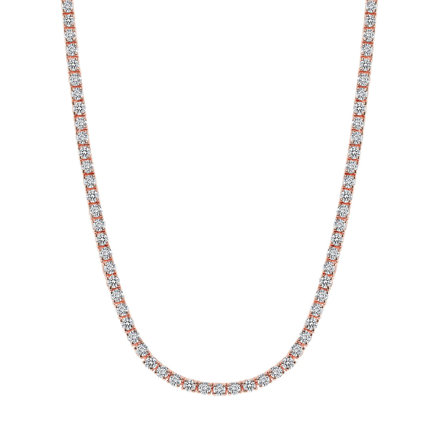 D & P Designs Traditional Straight Line Tennis Necklace Rose Gold
