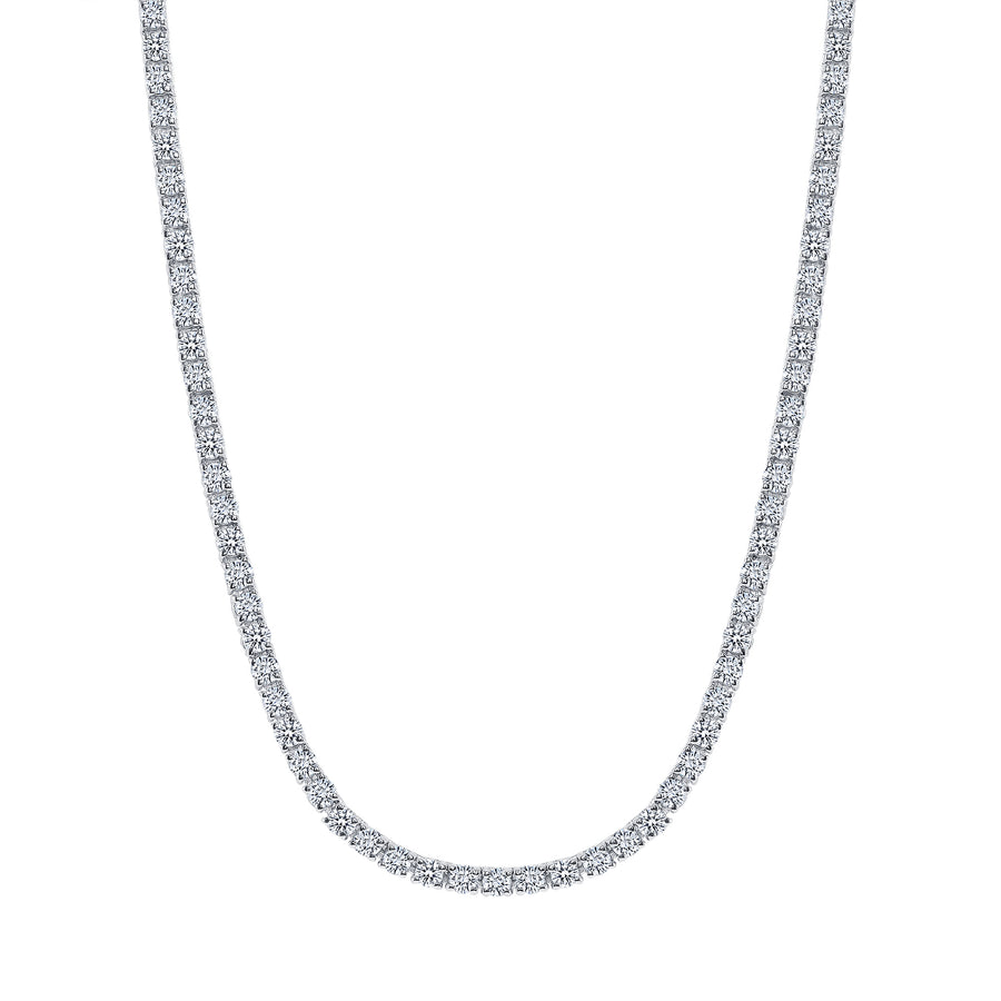 D & P Designs Traditional Straight Line Tennis Necklace White Gold