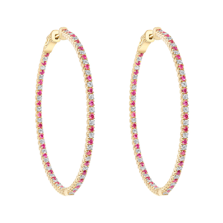 D&P Designs White Diamond and Treated Pink Diamond In and Out Oval Earrings Yellow Gold