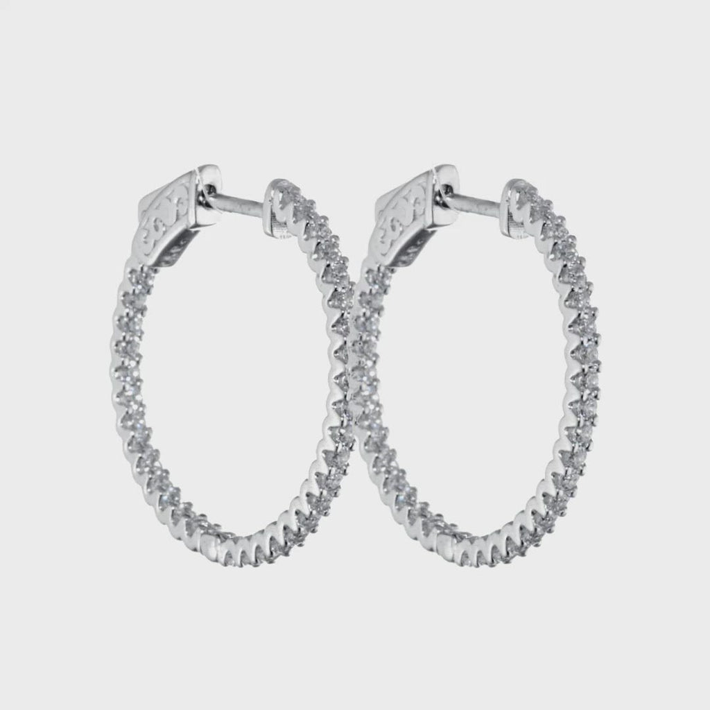D&P Designs In & Out Round Earrings White Gold