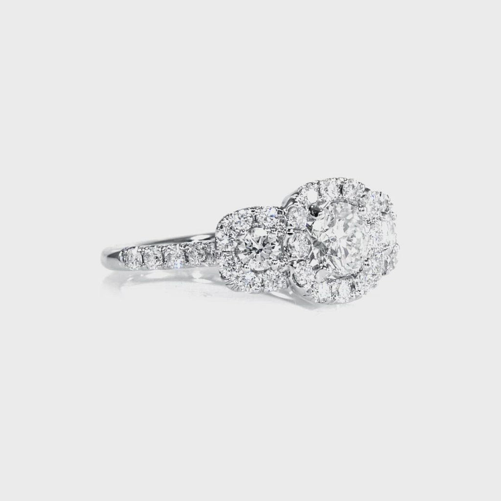 D&P Designs Three Stone Halo Engagement Ring White Gold