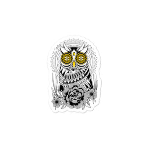 Open image in slideshow, Golden Eye's Owl Bubble-free stickers