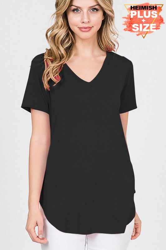 Soft, solid black v-neck
