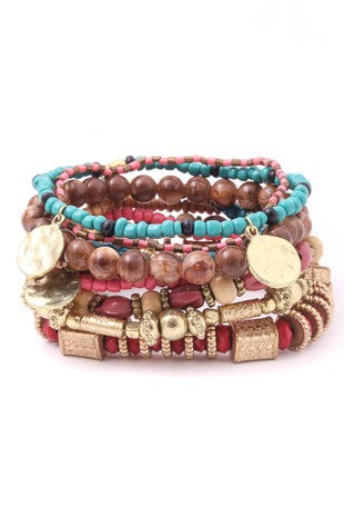 'Berry & wine' boho bracelet set