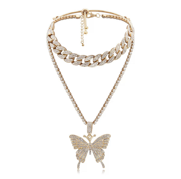 GOLD BUTTERFLY DIAMOND LINK NECKLACE