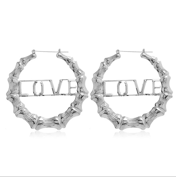 SILVER LOVE BAMBOO HOOP EARRINGS