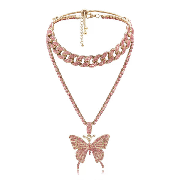 PINK AND GOLD BUTTERFLY LINK NECKLACE