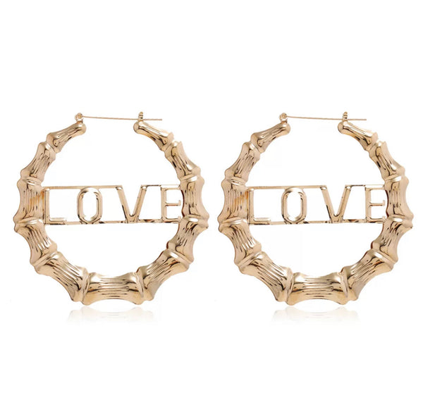 GOLD LOVE BAMBOO HOOP EARRINGS