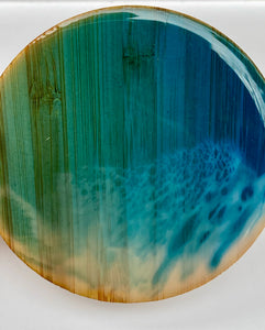 Bamboo back resin ocean coasters 🌊(set of 4)