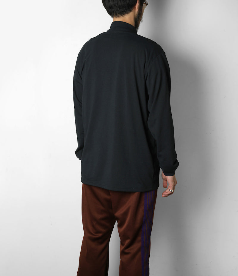 L/S Mock Neck Tee - Synthetic Jersey - Black
