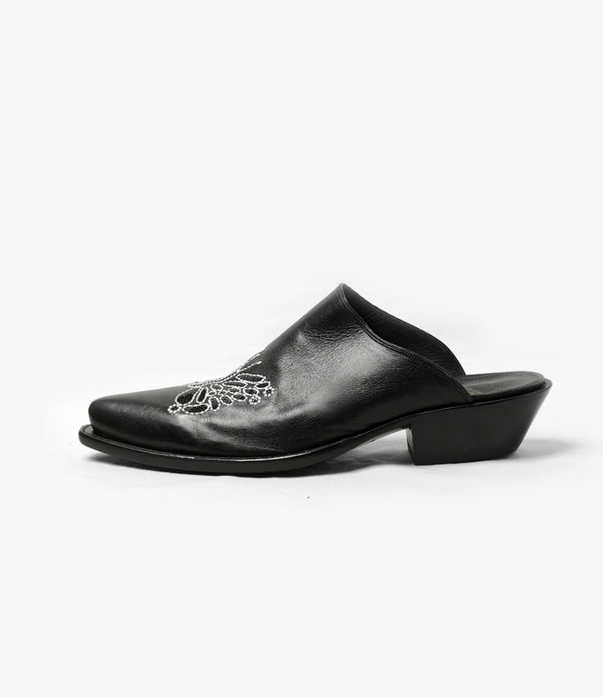 Heeled Papillon Emb. Mule - Black
