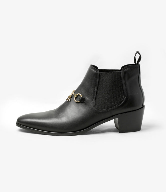 Heeled Chelsea Bit Boot - Black