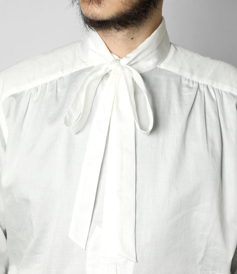 Ascot Collar EDW Gather Shirt - Cotton Sateen - Off White