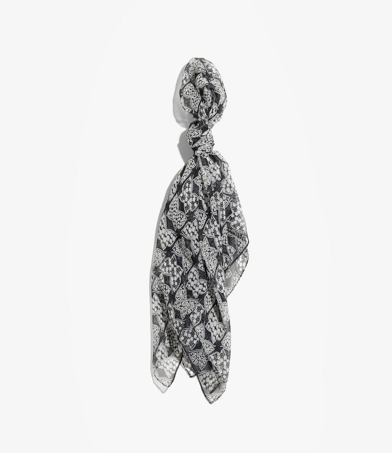 Scarf - Silk Crepe - Papillon - Charcoal