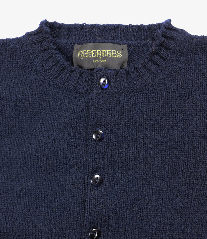 Fisherman Pocket Crew Cardigan - LS - Navy
