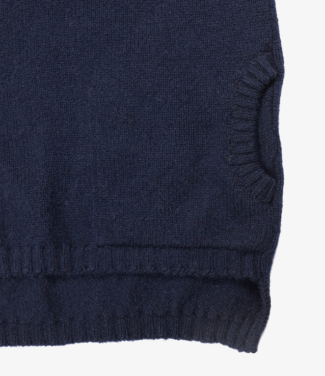 Fisherman Pocket Polo Sweater - LS - Navy