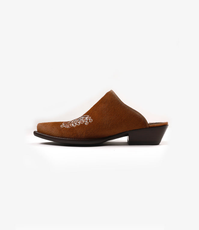 Heeled Papillon Emb. Mule - Brown Pony