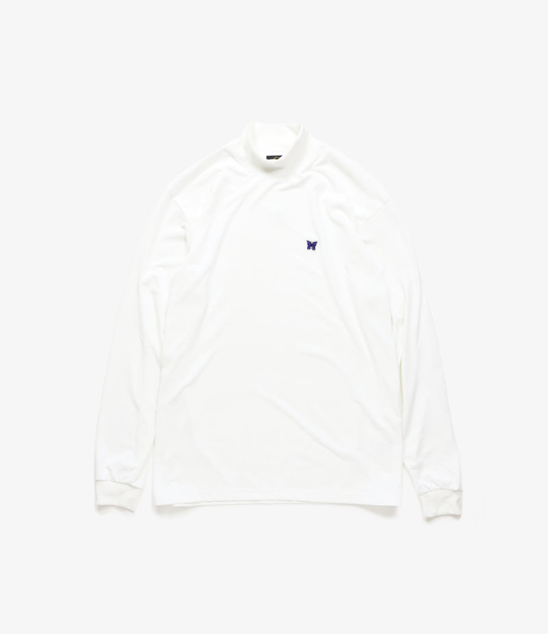 L/S Mock Neck Tee - Synthetic Jersey - White