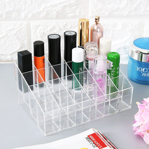 Multiple Grid Acrylic transparent Makeup Organizer Storage Box Drill polish lipstick Nail organizer Cosmetic Jewelry Box Holder