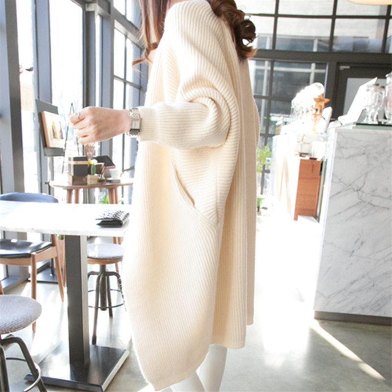 2020 Long Cardigan women Sweater Autumn Winter Bat sleeve Knitted Sweater Plus size Jacket Loose Ladies Sweaters Cardigans 3XL
