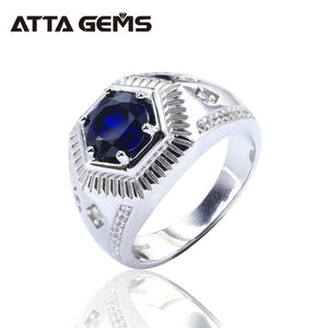 Blue Sapphire Sterling Silver Men's Ring for Engagement Wedding Band Created Sapphire Rings for Husband Boyfriend Gifts