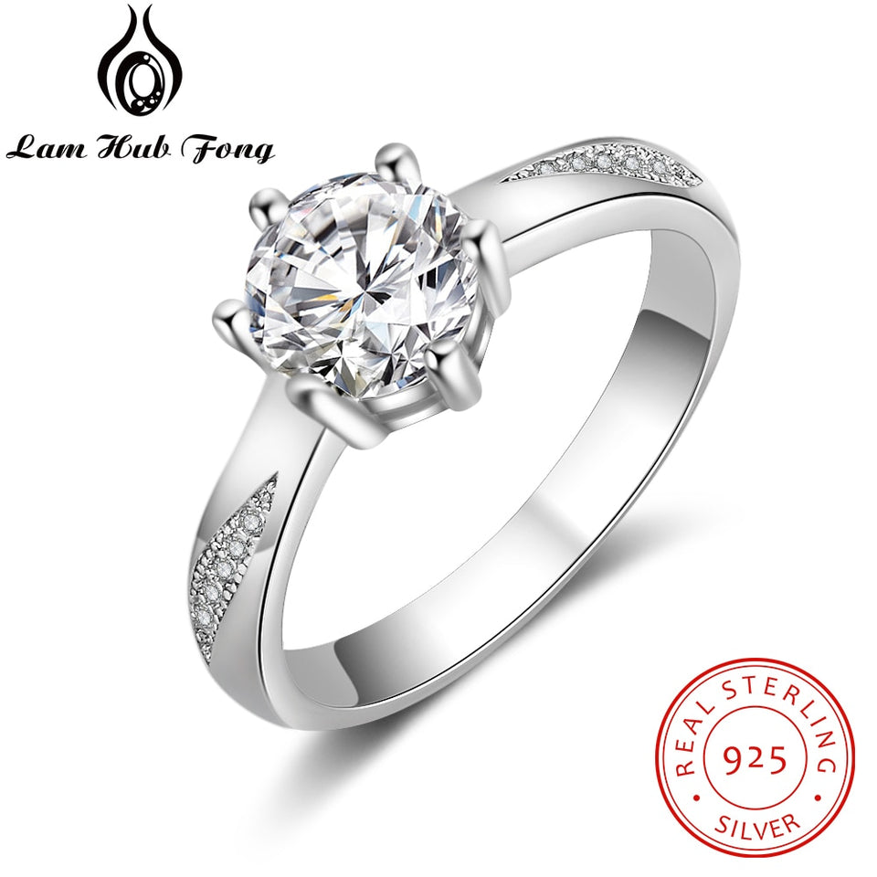 925 Sterling Silver Rings Clear CZ Finger Rings for Women Wedding Engagement Jewelry Promise Gift for Girlfriend (Lam Hub Fong)