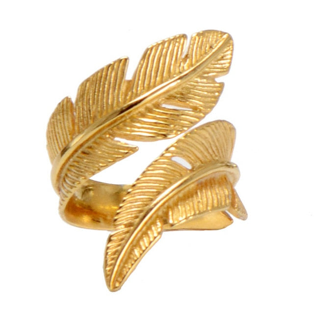 gold ring ancient feather rings Stainless steel rings men rings for women mens rings jewelry lovers ring jewelry men rings