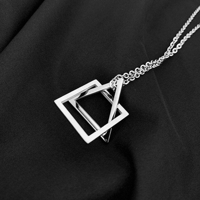 triangle geometric necklace Stainless steel men necklace woemen Link Chains necklace hiphop jewelry pendant necklace men jewelry