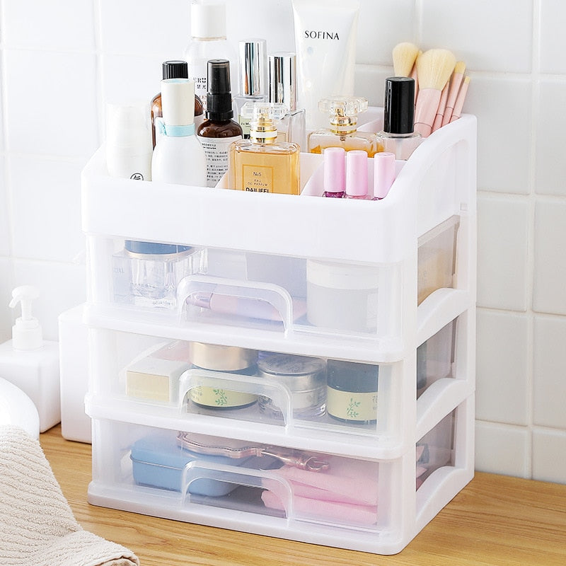 Makeup Organizer Drawers Plastic Cosmetic Storage Box Jewelry Container Make Up Case Makeup Brush Holder Organizers H1187