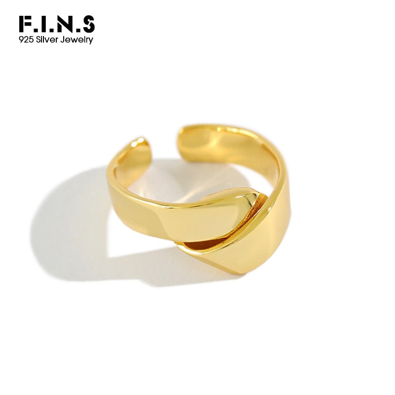 F.I.N.S Korean Woman Real 925 Sterling Silver Ring INS Glossy Knot Finger Ring Open Adjustable Wedding Party Gifts Fine Jewelry