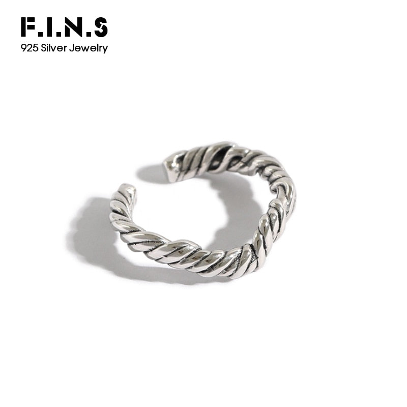 F.I.N.S Korean Pure 100% 925 Sterling Silver Ring Retro Vintage Irregular Wave Twist Finger Rings for Women Silver Ring 925