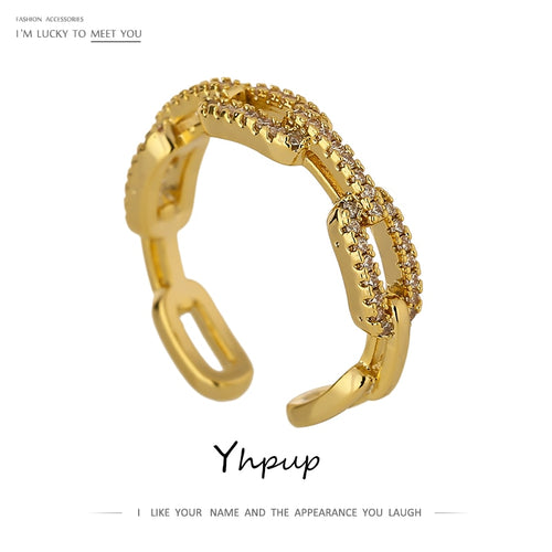 Yhpup New High Quality Chain Cubic Zirconia Ring for Women kpop Engagement ring Jewelry Bagues Pour Femme Anniversary Gift 2020