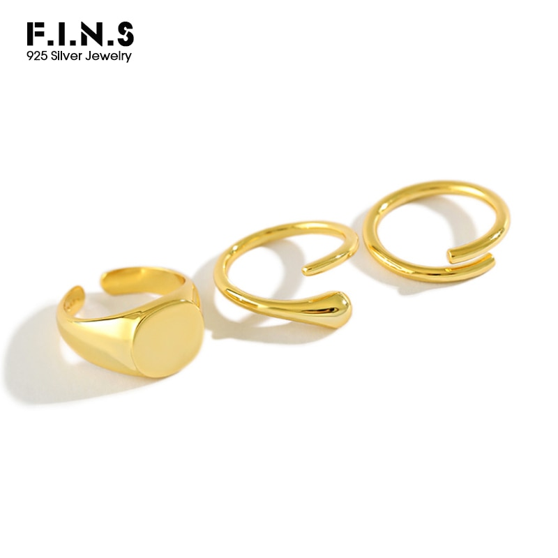 F.I.N.S 925 Sterling Silver Ring Geometric Round Flat Surface Water Drop Minimalist Stackable Opening Adjustable Silver 925 Ring