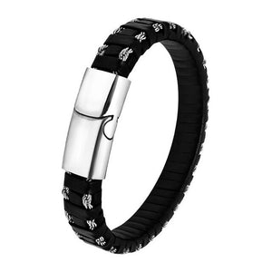 Braided Black Leather Bracelet Men Fashion Stainless Steel Magnetic Clasp Bangle Punk Hiphop Wholesale Jewelry pulsera hombre