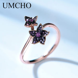 UMCHO 925 Sterling Silver Jewelry Silver Black Plated Flower Adjustable Rings For Girls Birthday Gift Fine Jewelry