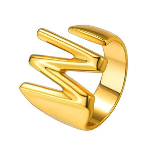 U7 A to Z Initial Letter  Women Statement Rings Adjustable Party Women's Signet Ring Gold Plated Bold Open Alphabet Ring R1024