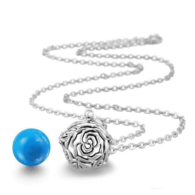 Eudora 18mm Pregnancy Bola Ball Rose Flower Locket Cage Pendant sound Harmony Bola Ball Pendant Necklace for mom baby giftK100
