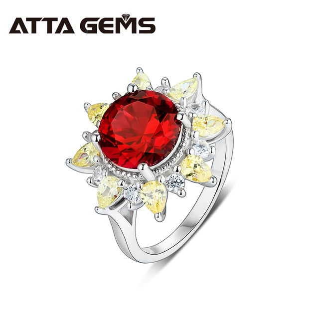 Ruby Sterling Silver Rings for Women 4.8 Carats Created Red Ruby Faced Original Design Women Fine Jewelry Wedding Ring