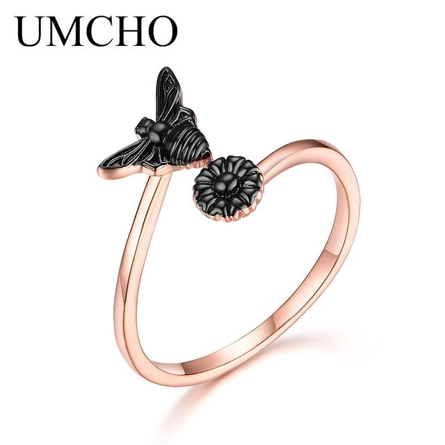 UMCHO Black Color Bee Flower Adjustable Rings 925 Sterling Silver Rings For Women Anniversary Gift Fine Jewelry