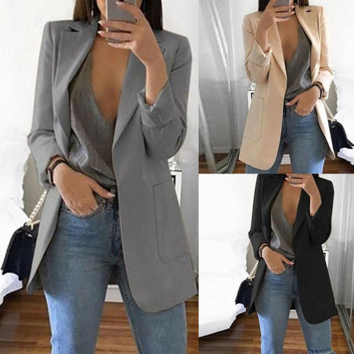 Autumn Lady Young Women Elegant Jacket Blazer 2020 Fashion Solid Slim Casual Business Blazer Suit Coat Outwear Khaki Gary Black