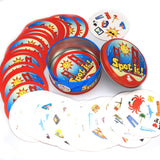 20 Styles Dobble Spot It Toy Iron Box 55 Cards Sport Fun Family Animals Jr Hip Kids Board Game Gift Holidays Camping 123 Tin Box