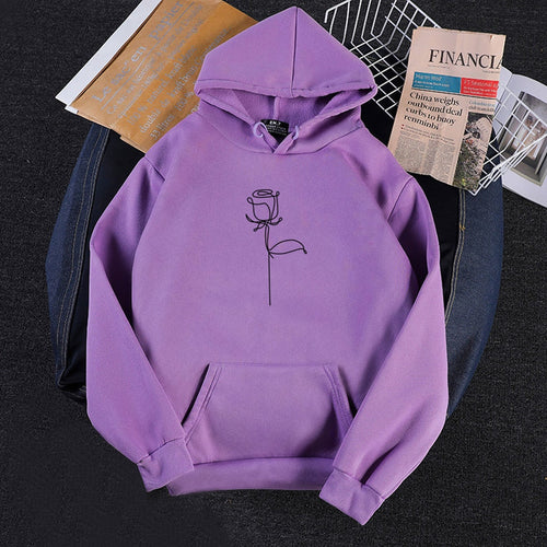 Women Harajuku Rose Hoodies Winter Kpop Flower Print Korean Style Sweatshirt Casual Loose Plus Size Female Pullovers Streetwear