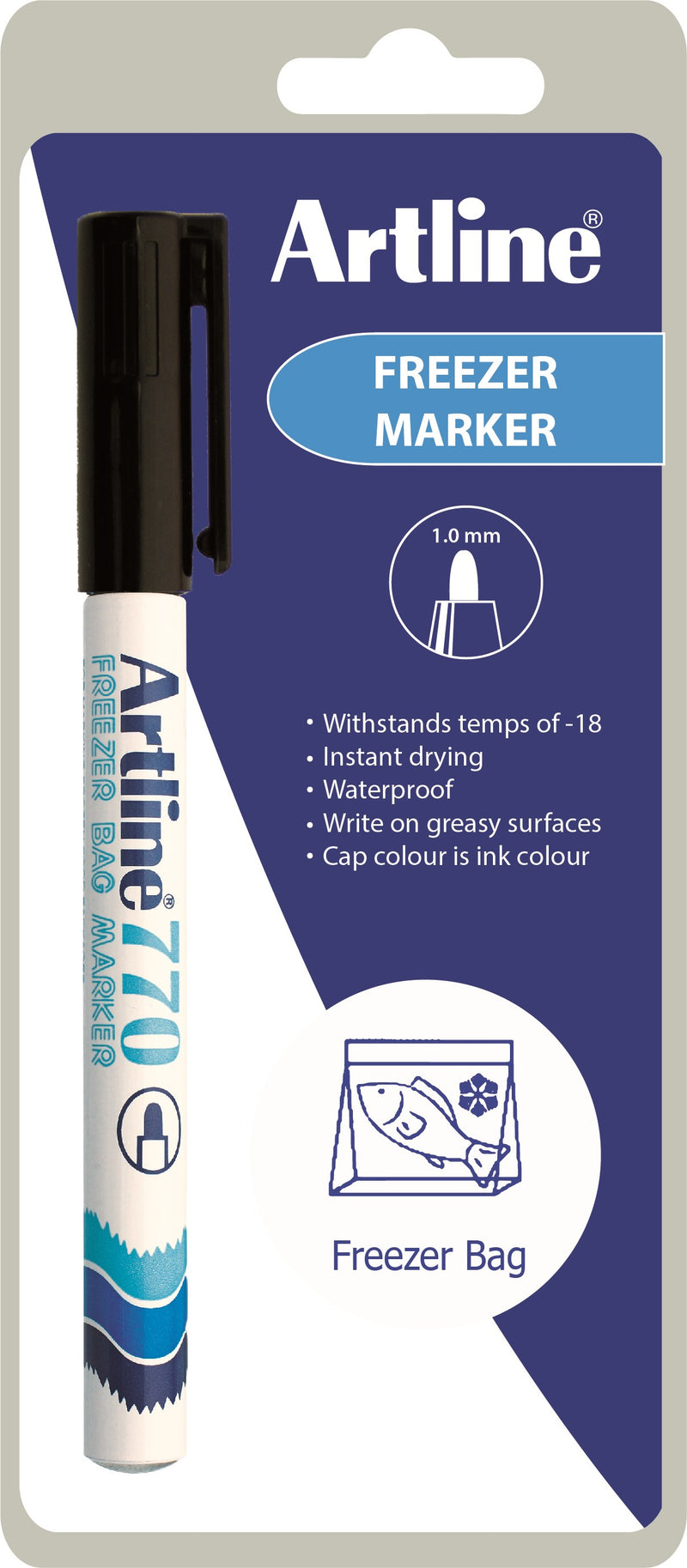 Frysemarker Artline 770 sort 1-Blister