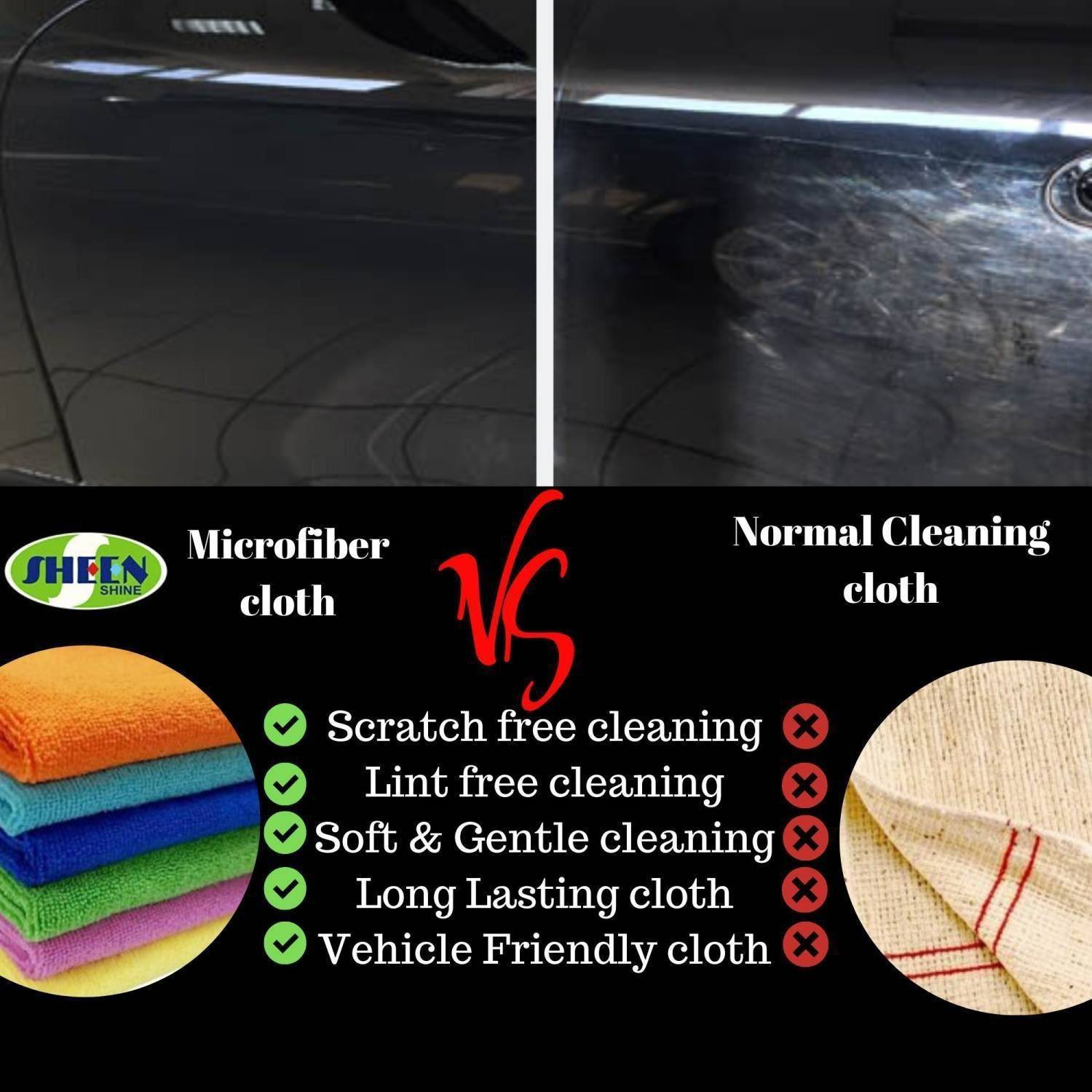 SHEEN Microfiber Vehicle Washing Cloth (30x40) Pack Of 4