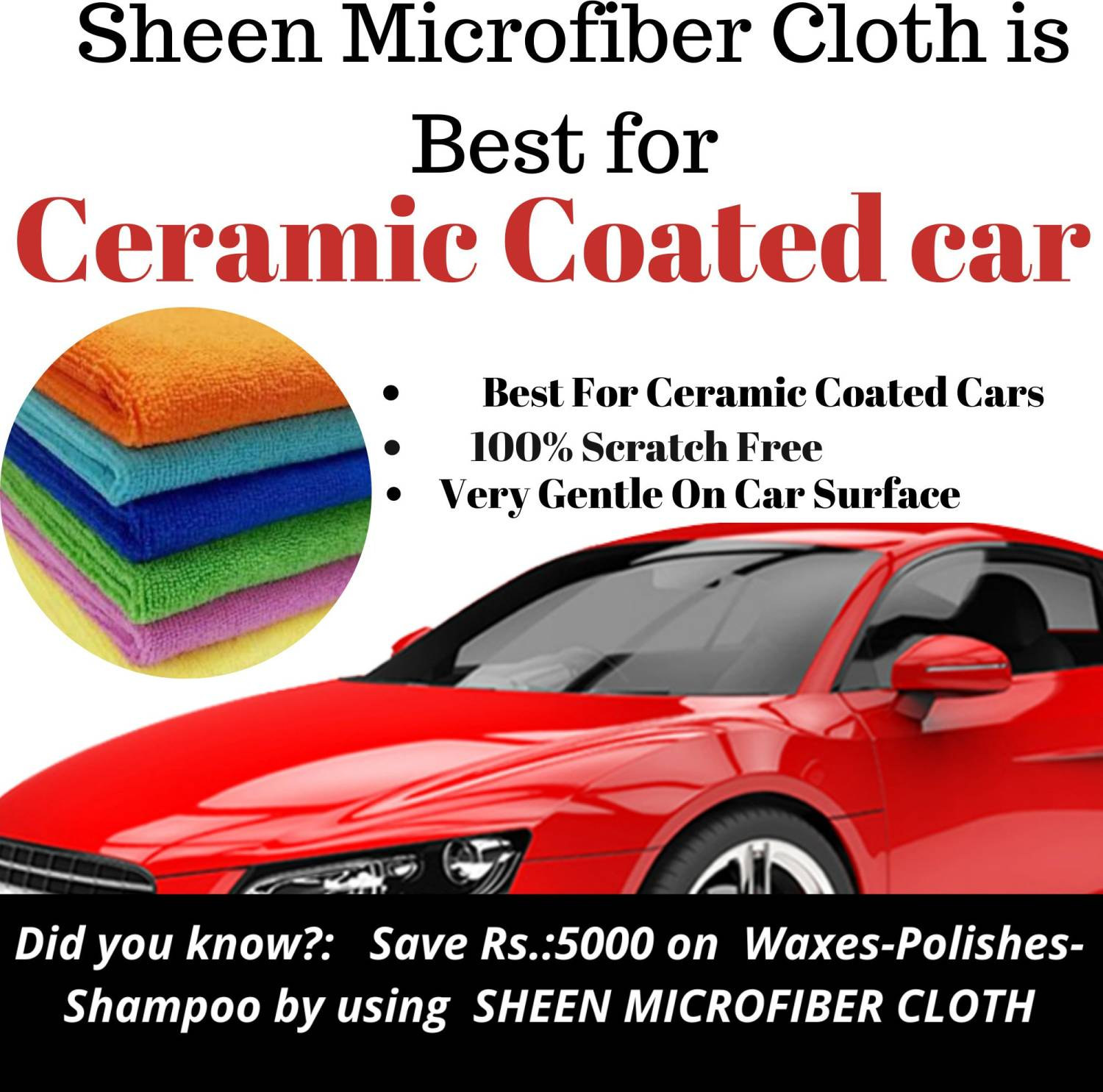 Sheen Microfiber Vehicle Washing Cloth Coral (30X40 cm) Pack of 150