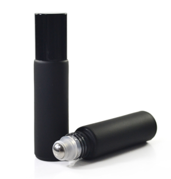 10ml Black Frosted Glass Roller Bottles with Black Caps