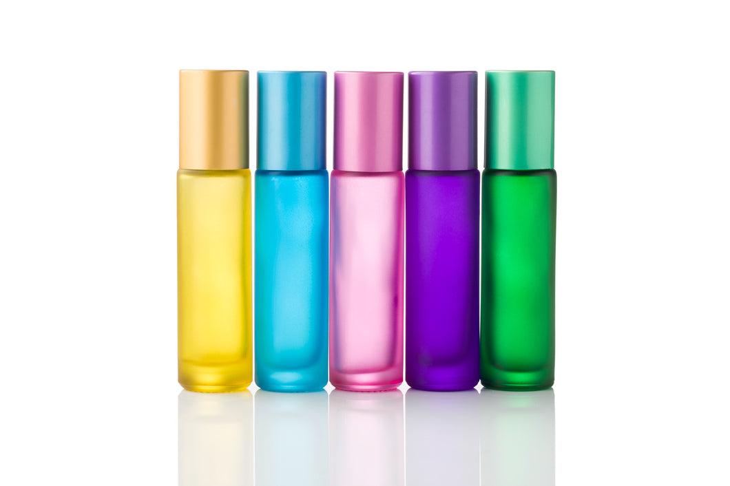 10ml Frosted Glass Roller Bottles with Colour Caps